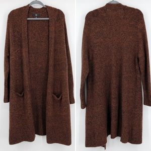 Mossimo Wool Duster Cardigan Sweater Open Brown L